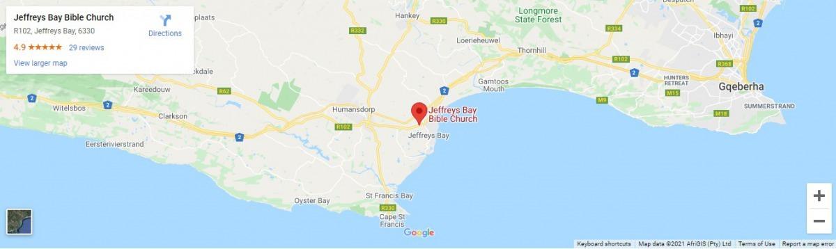jeffreys bay bible church google map location screenshot